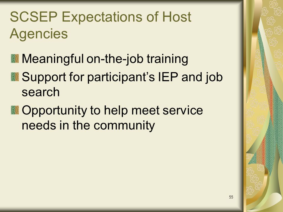 SCSEP Expectations of Host Agencies