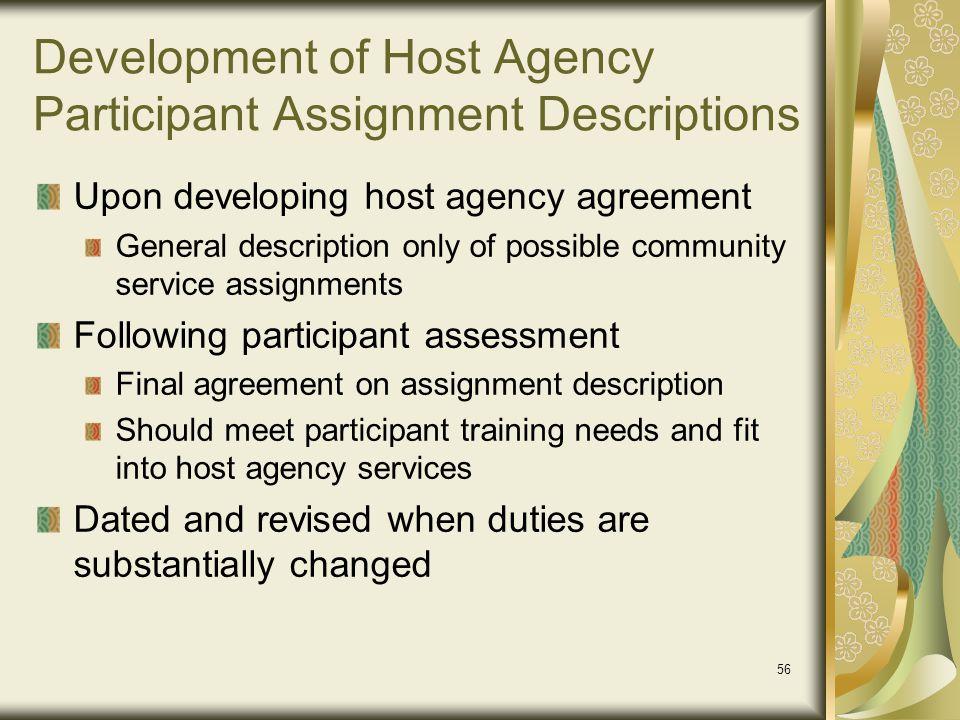 Development of Host Agency Participant Assignment Descriptions
