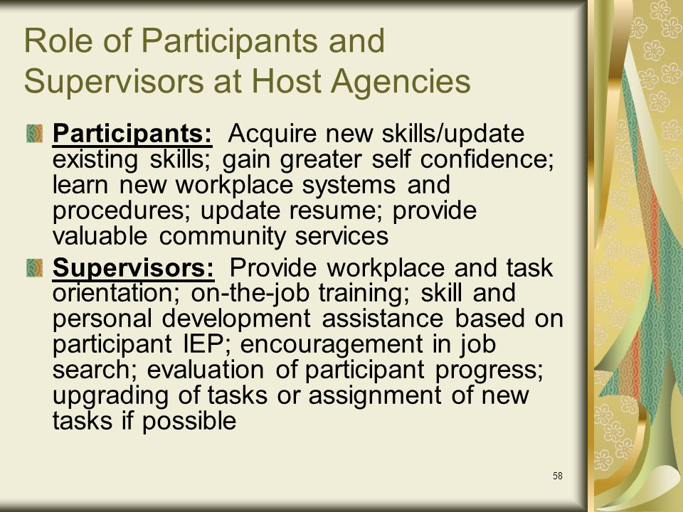 Role of Participants and Supervisors at Host Agencies