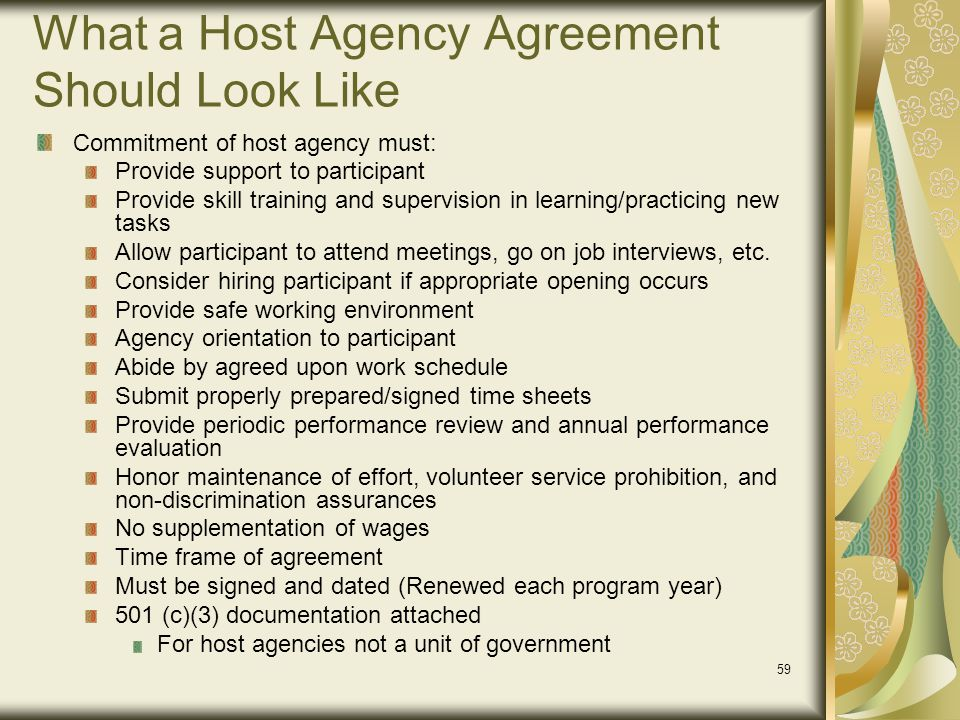 What a Host Agency Agreement Should Look Like