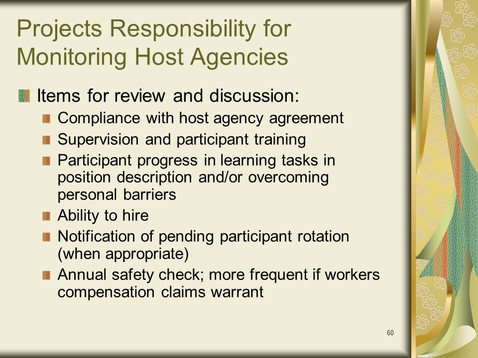 Projects Responsibility for Monitoring Host Agencies