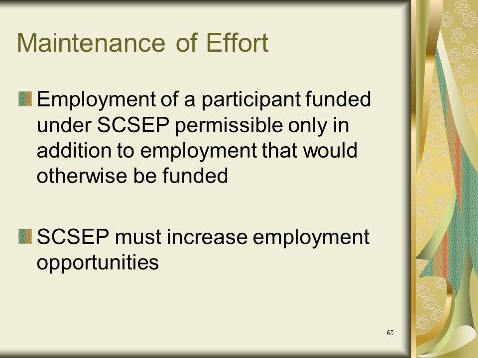 Maintenance of Effort Employment of a participant funded under SCSEP permissible only in addition to employment that would otherwise be funded.