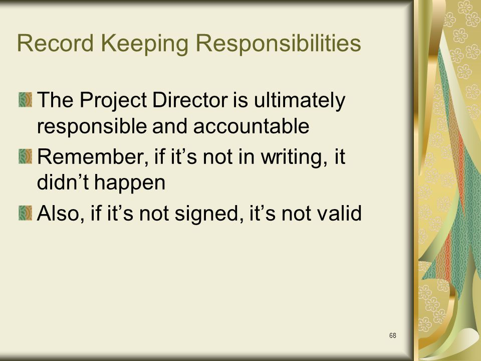 Record Keeping Responsibilities