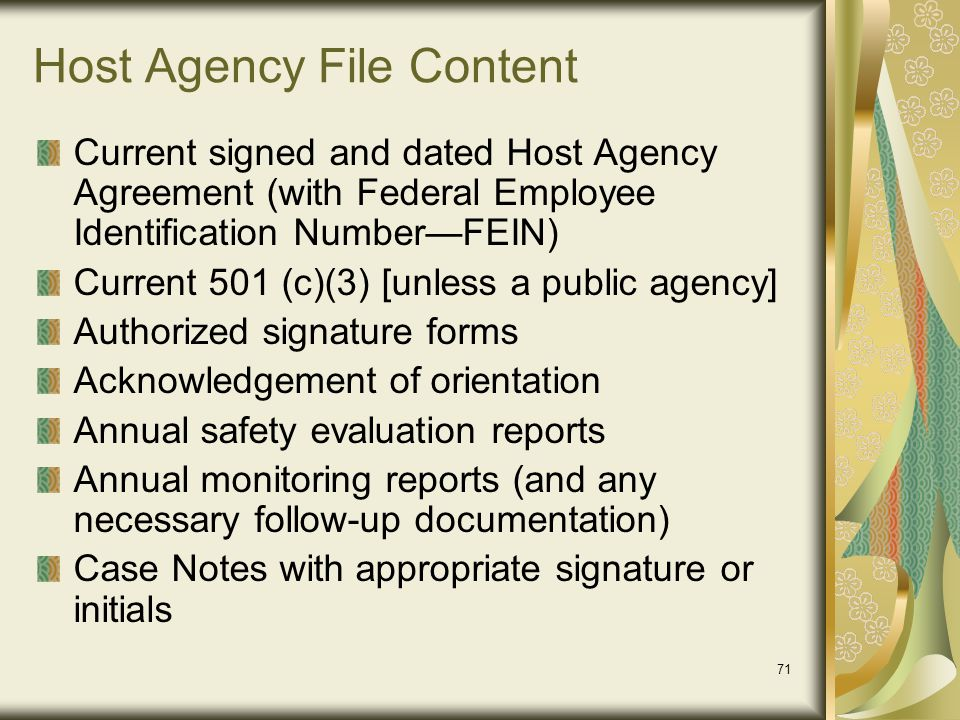 Host Agency File Content