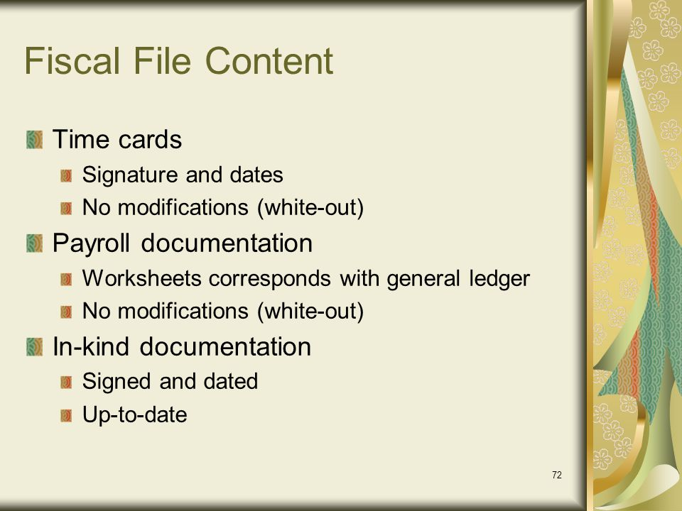 Fiscal File Content Time cards Payroll documentation