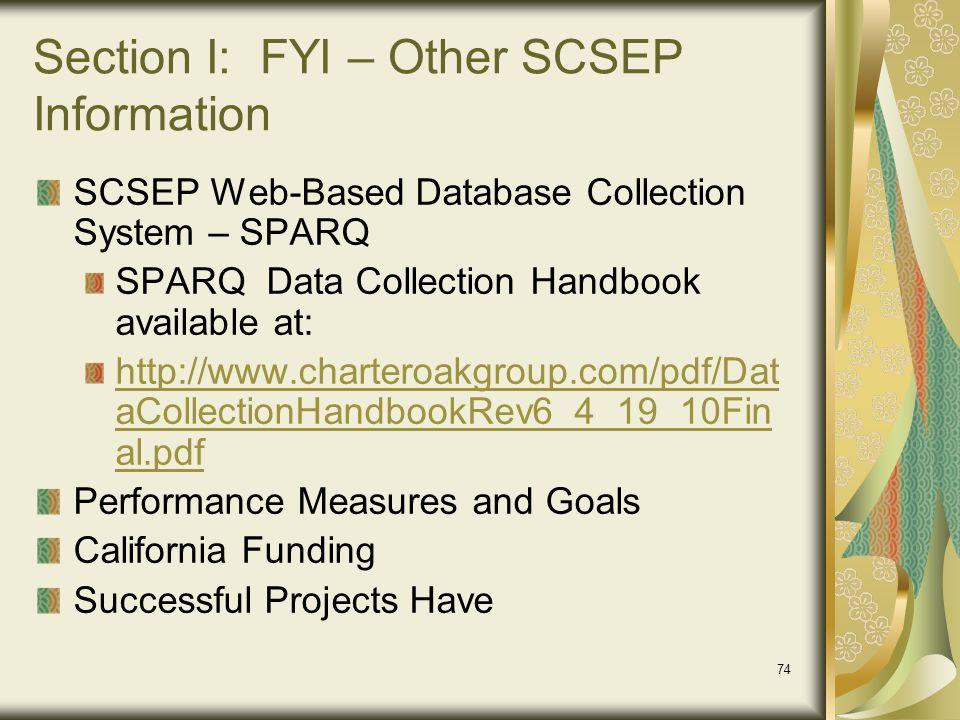 Section I: FYI – Other SCSEP Information