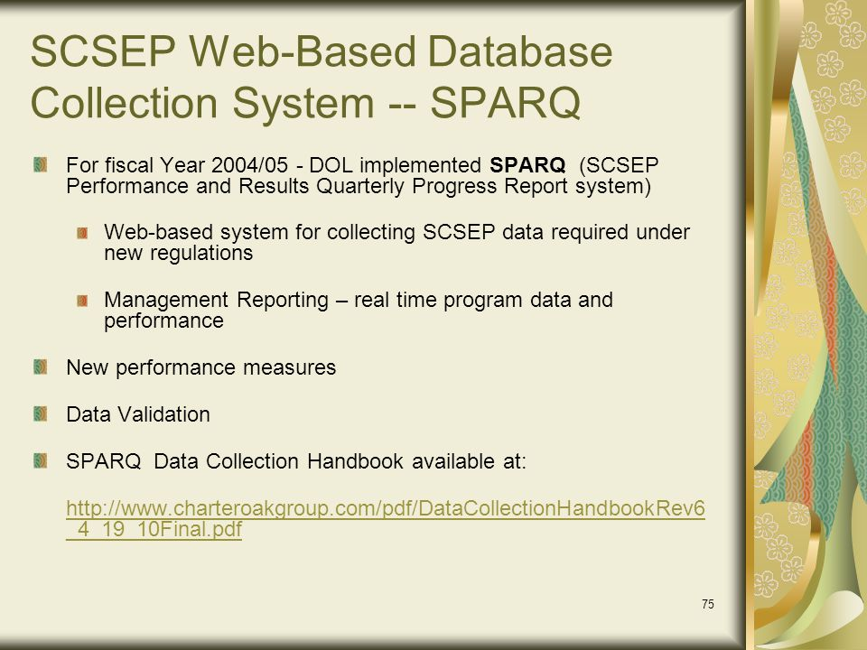SCSEP Web-Based Database Collection System -- SPARQ