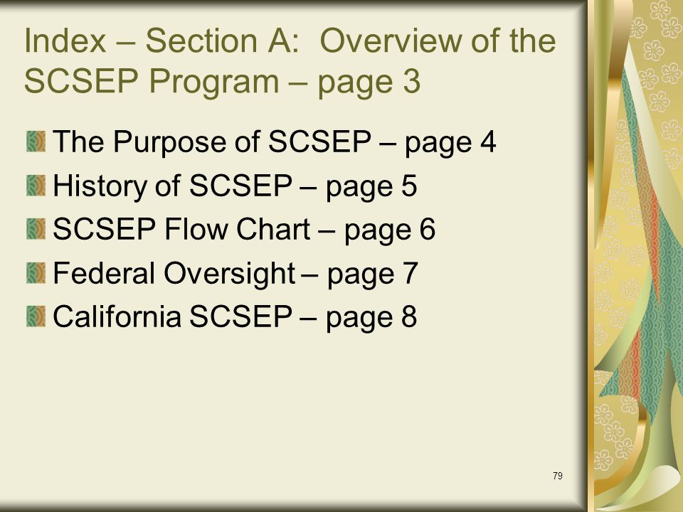 Index – Section A: Overview of the SCSEP Program – page 3