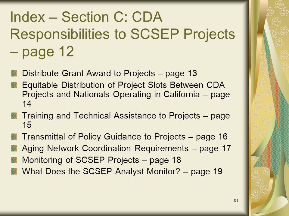 Index – Section C: CDA Responsibilities to SCSEP Projects – page 12