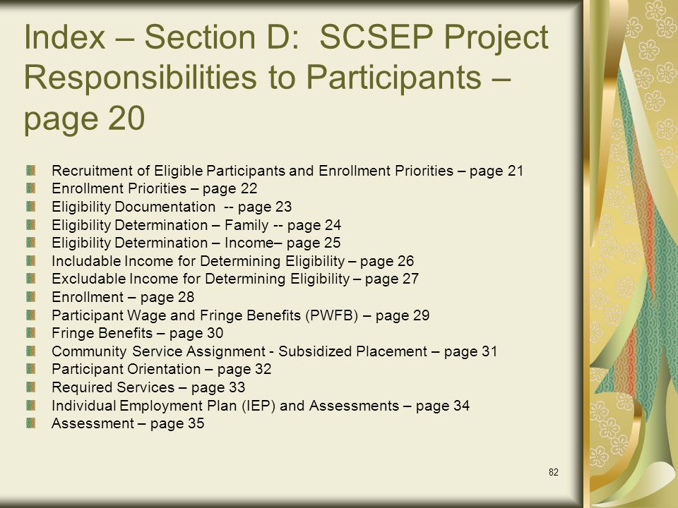 Index – Section D: SCSEP Project Responsibilities to Participants – page 20