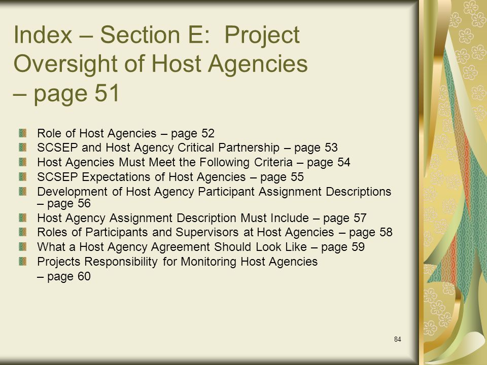 Index – Section E: Project Oversight of Host Agencies – page 51