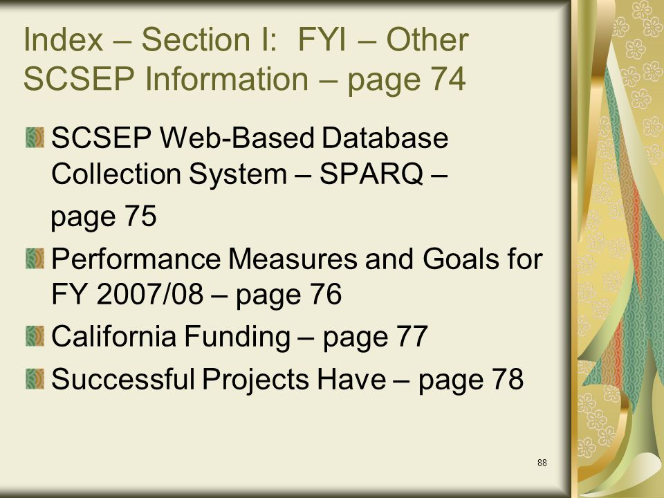 Index – Section I: FYI – Other SCSEP Information – page 74