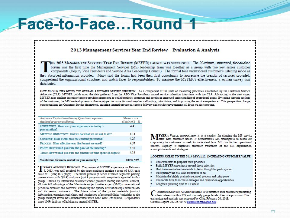 Face-to-Face…Round 1