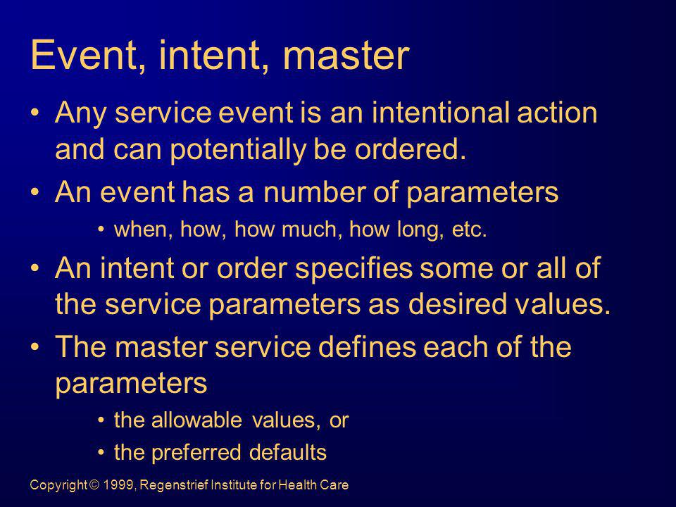 Event, intent, master Any service event is an intentional action and can potentially be ordered. An event has a number of parameters.
