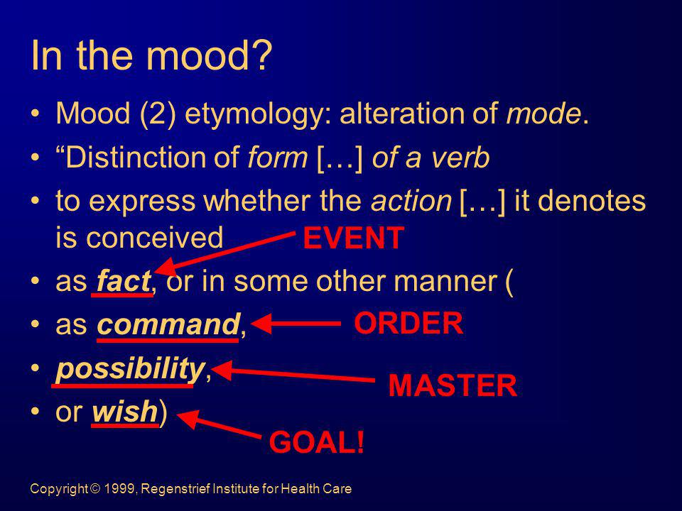 In the mood Mood (2) etymology: alteration of mode.