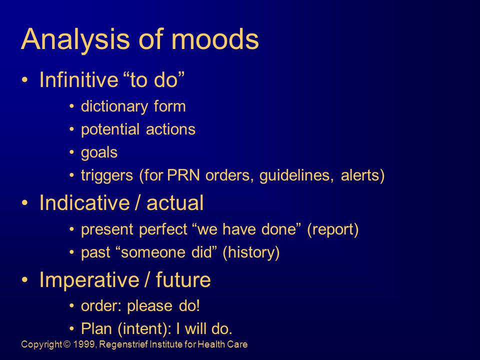 Analysis of moods Infinitive to do Indicative / actual