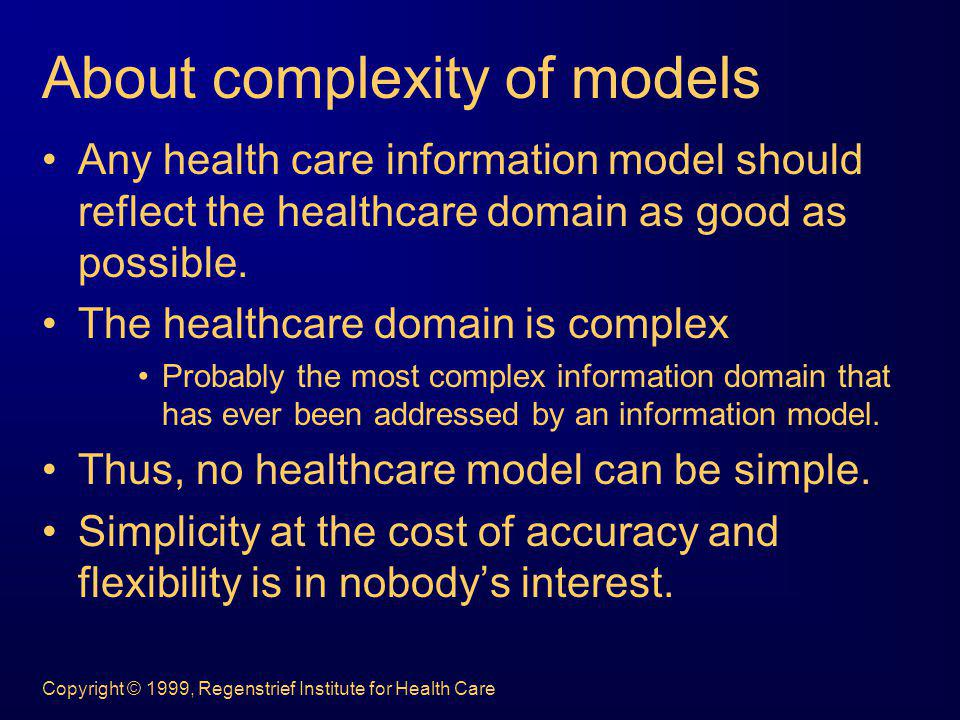 About complexity of models