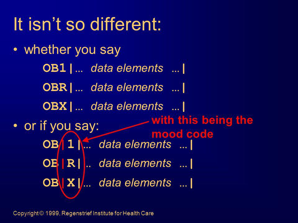 It isn't so different: whether you say OB1|… data elements …|