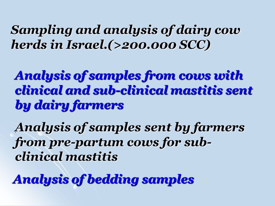 Sampling and analysis of dairy cow herds in Israel.(> SCC)