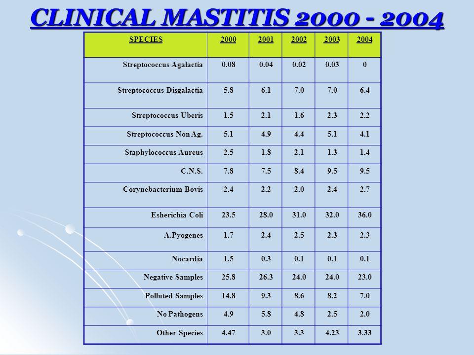 CLINICAL MASTITIS 2000 - 2004 SPECIES 2000 2001 2002 2003 2004