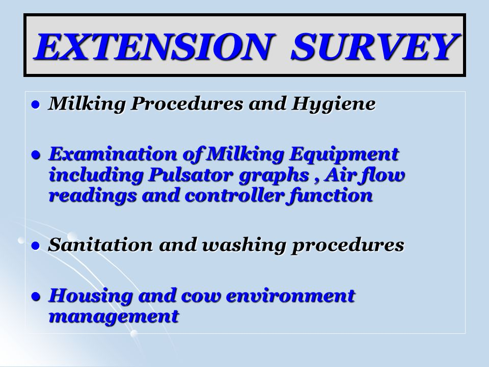 EXTENSION SURVEY Milking Procedures and Hygiene