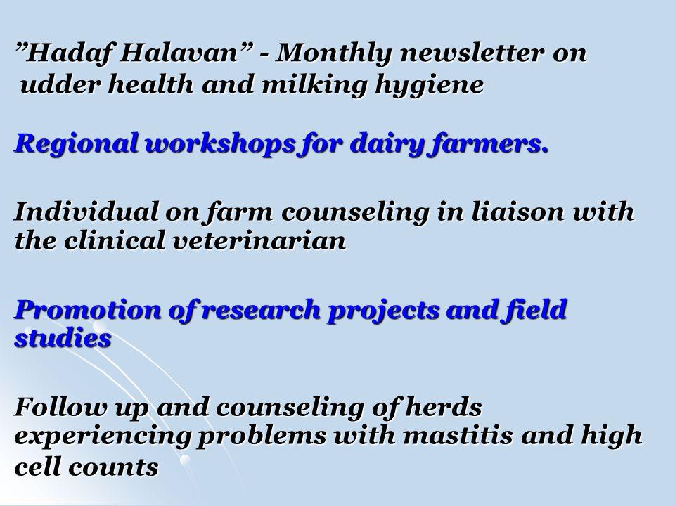 Hadaf Halavan - Monthly newsletter on udder health and milking hygiene