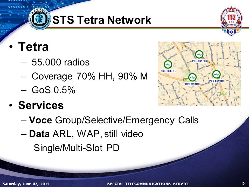 Tetra STS Tetra Network Services radios Coverage 70% HH, 90% M