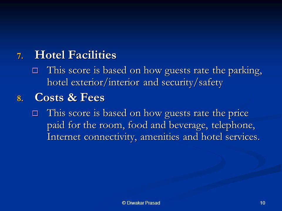 Hotel Facilities Costs & Fees