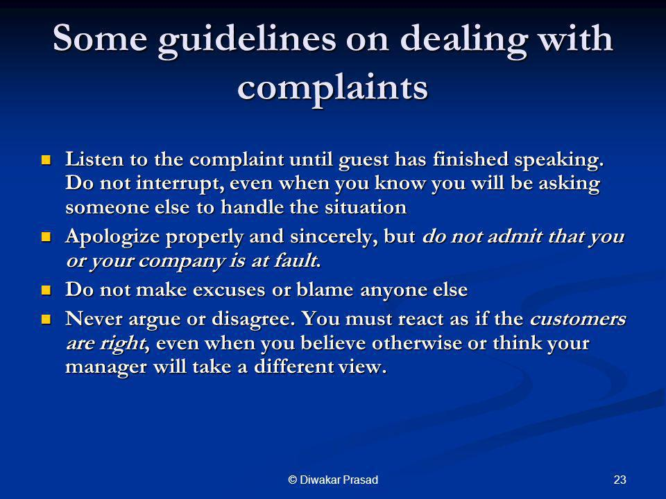 Some guidelines on dealing with complaints