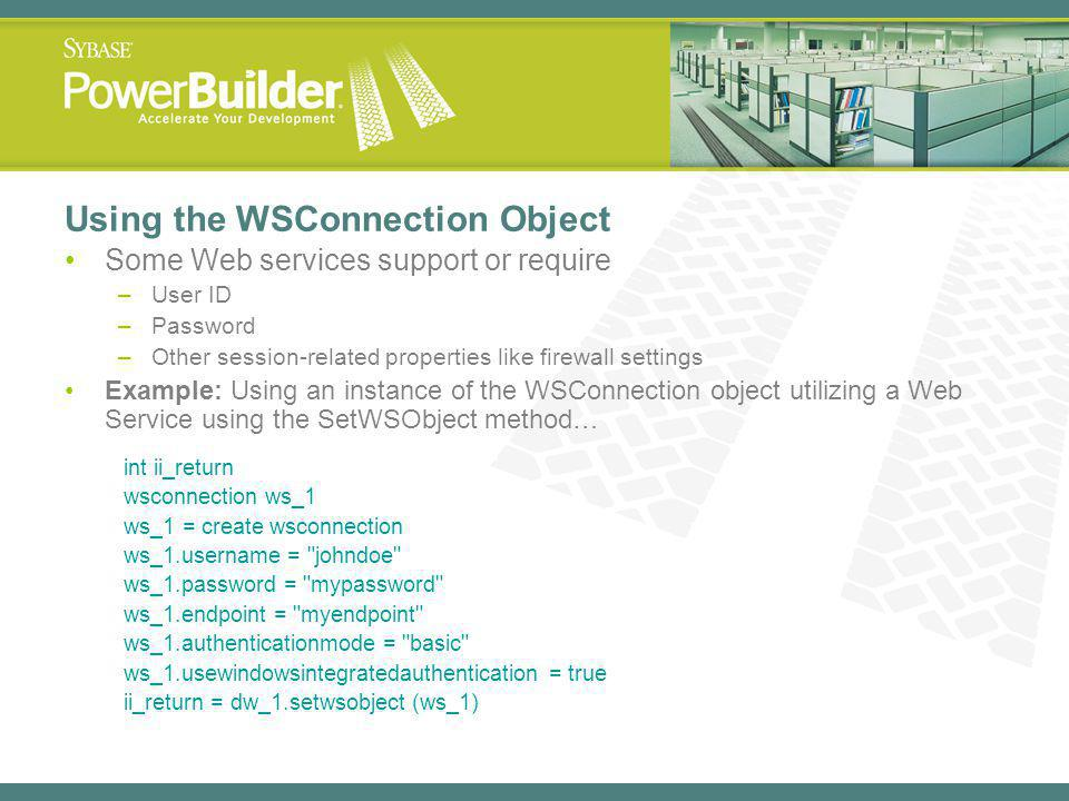 Using the WSConnection Object
