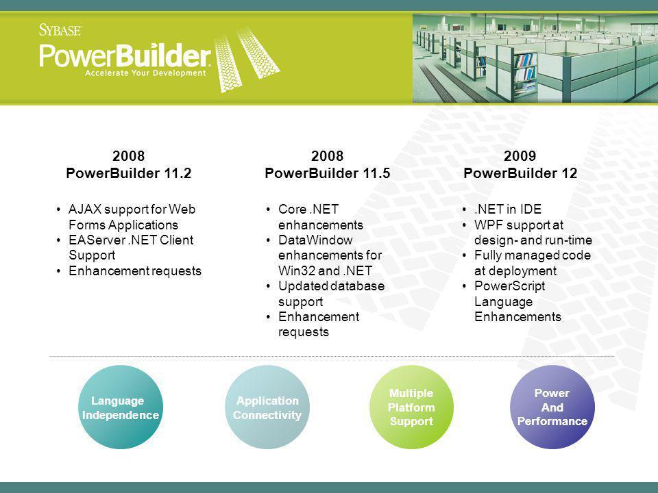 2008 PowerBuilder 11.2 2008 PowerBuilder 11.5 2009 PowerBuilder 12