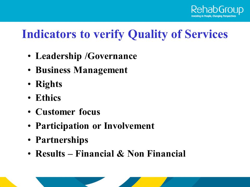 Indicators to verify Quality of Services