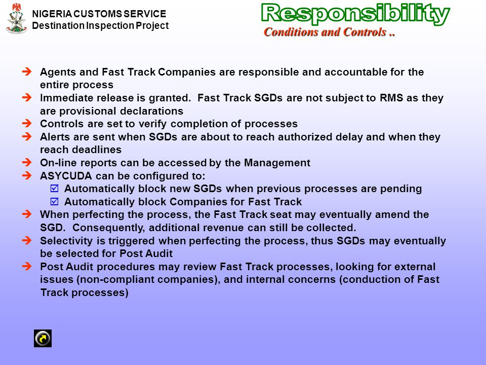 Responsibility Conditions and Controls ..