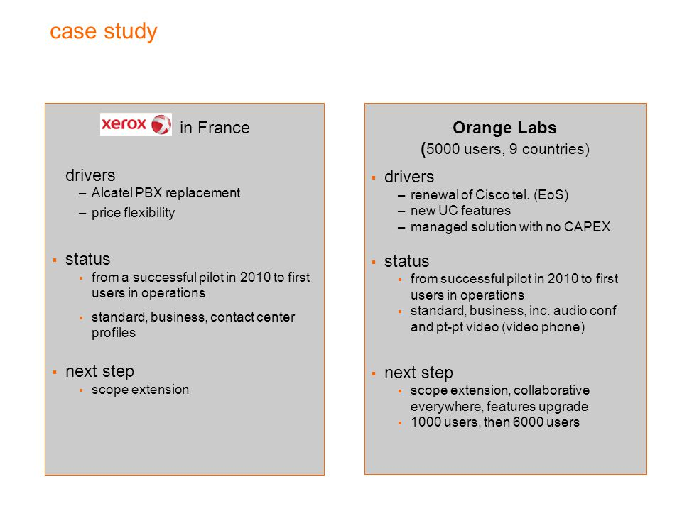 case study in France drivers status next step Orange Labs