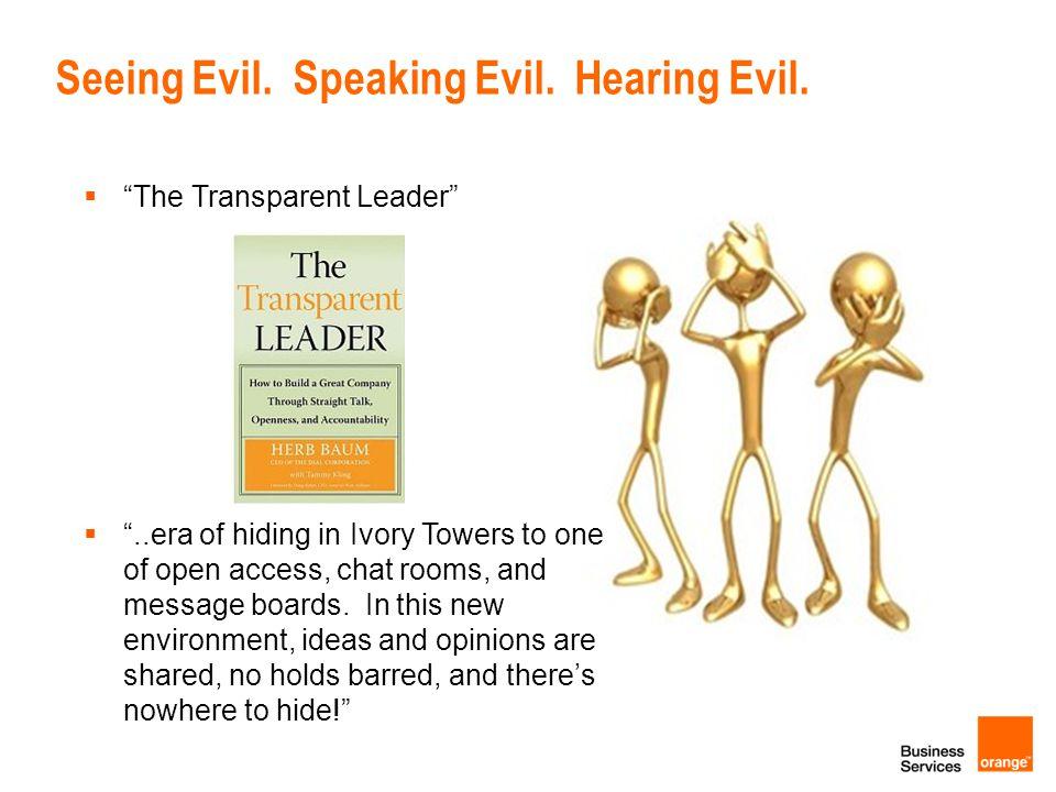 Seeing Evil. Speaking Evil. Hearing Evil.