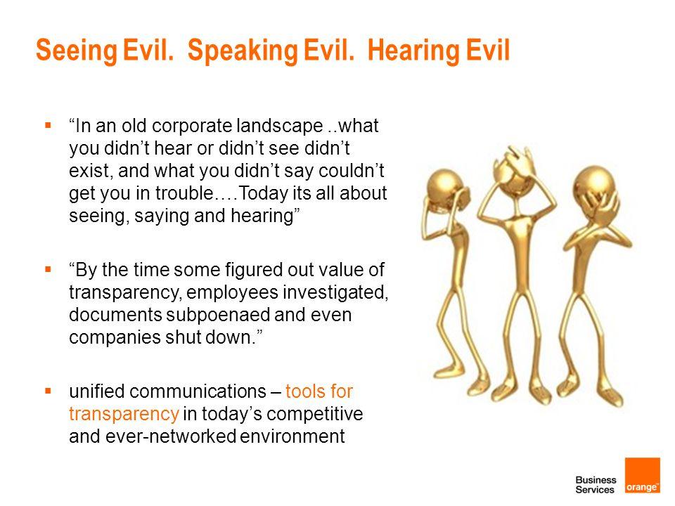 Seeing Evil. Speaking Evil. Hearing Evil