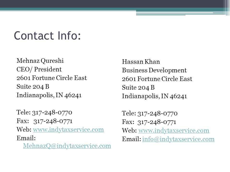 Contact Info: