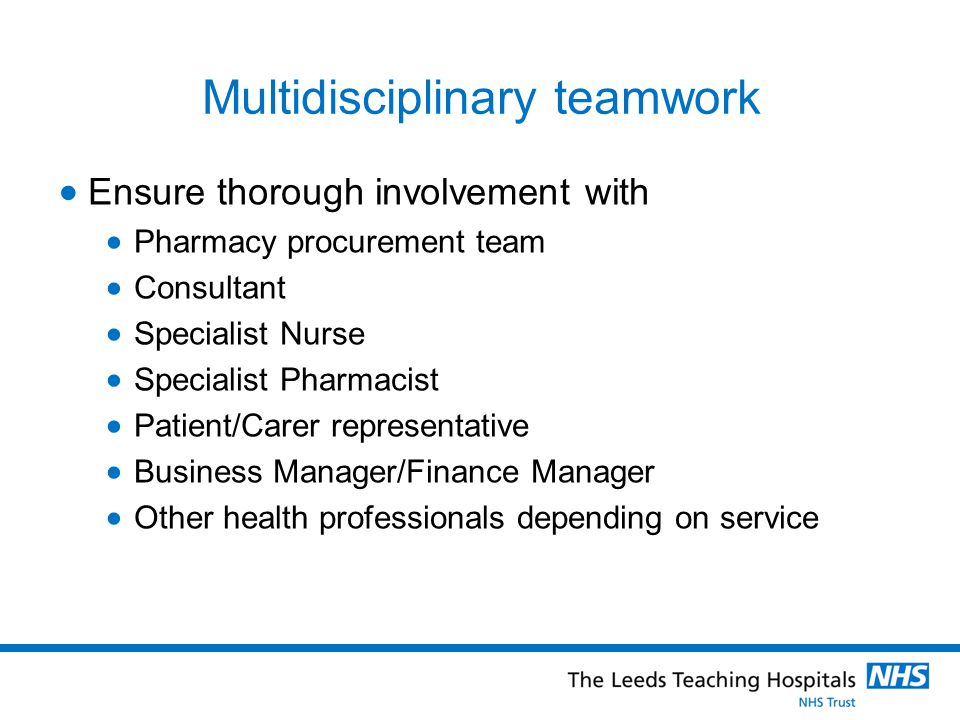 Multidisciplinary teamwork