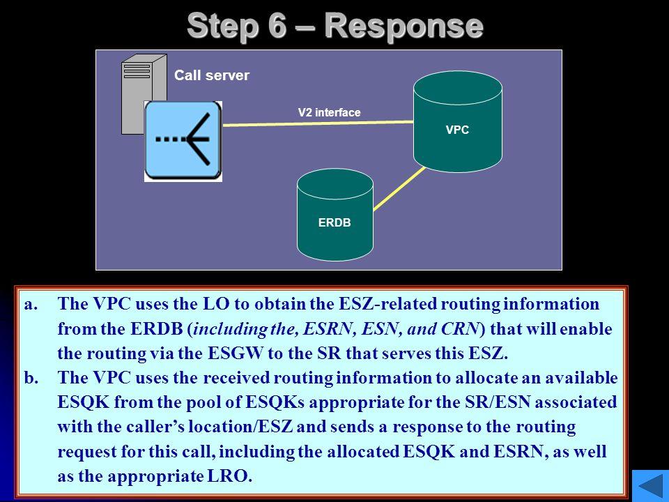 Step 6 – Response Call server. VPC. V2 interface. Location. (LO) ESQK/ESRN, LO. ERDB. ESQK/ESRN.