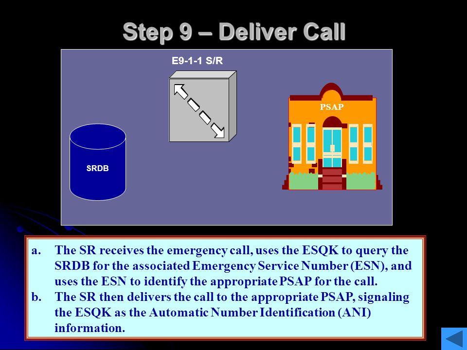Step 9 – Deliver Call E9-1-1 S/R. PSAP. ESQK. ESQK. SRDB. ESN.