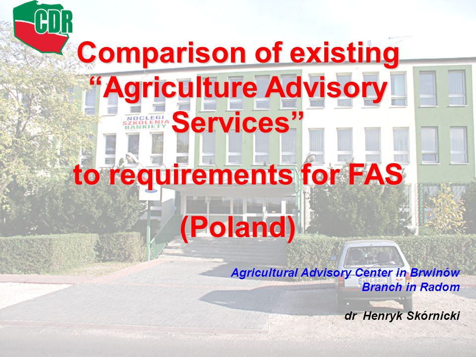 Comparison of existing Agriculture Advisory Services