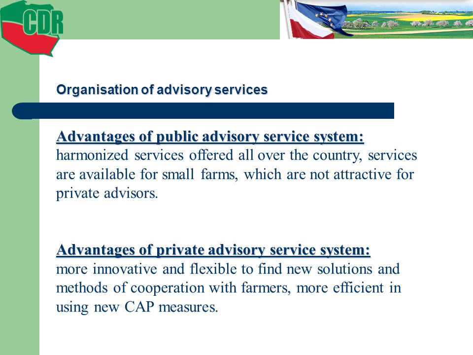 Advantages of public advisory service system: