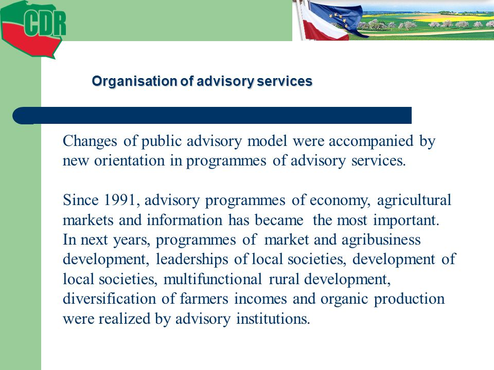 Organisation of advisory services