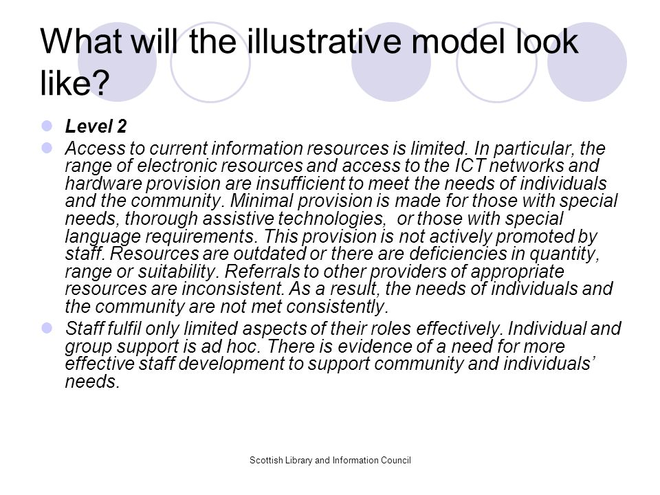 What will the illustrative model look like