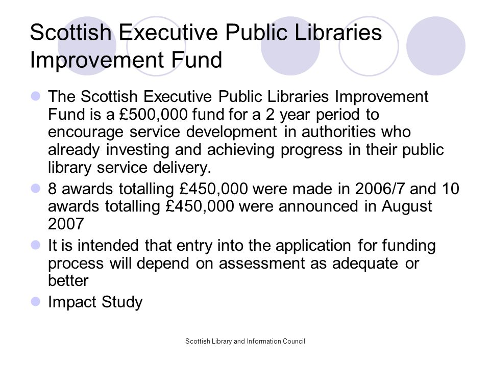 Scottish Executive Public Libraries Improvement Fund