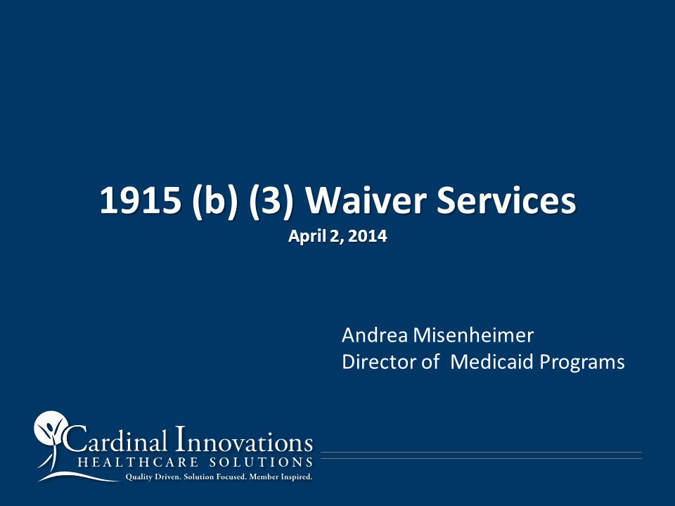 1915 (b) (3) Waiver Services April 2, 2014