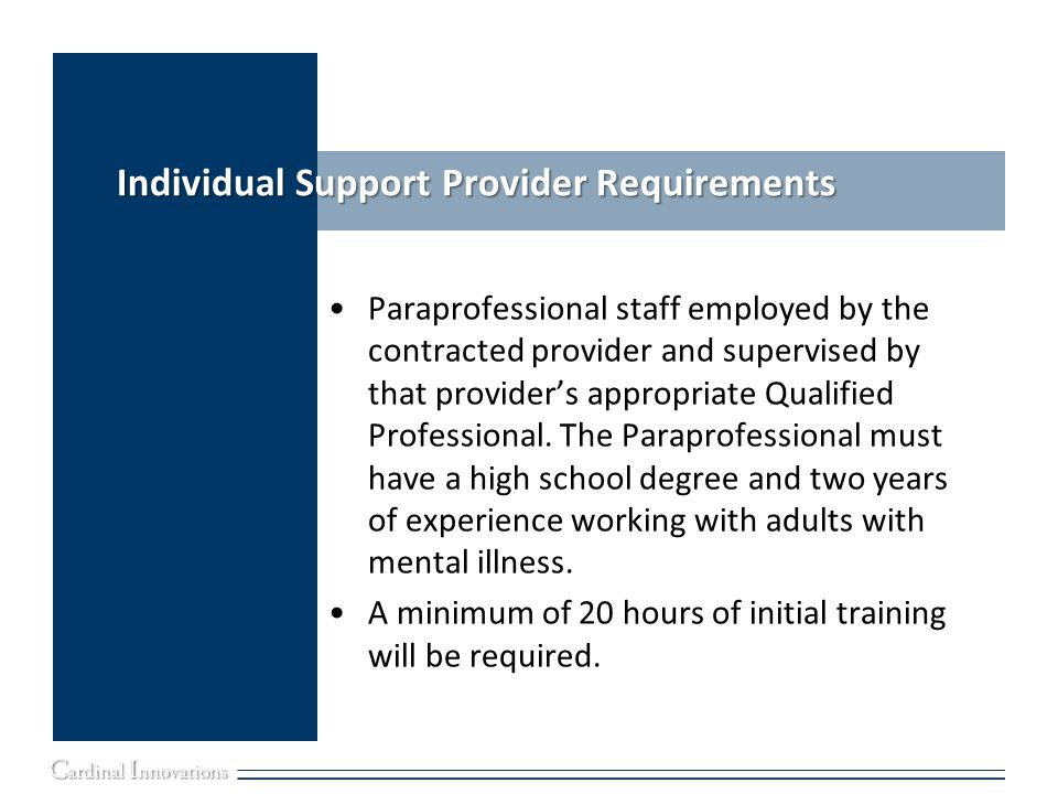 Individual Support Provider Requirements