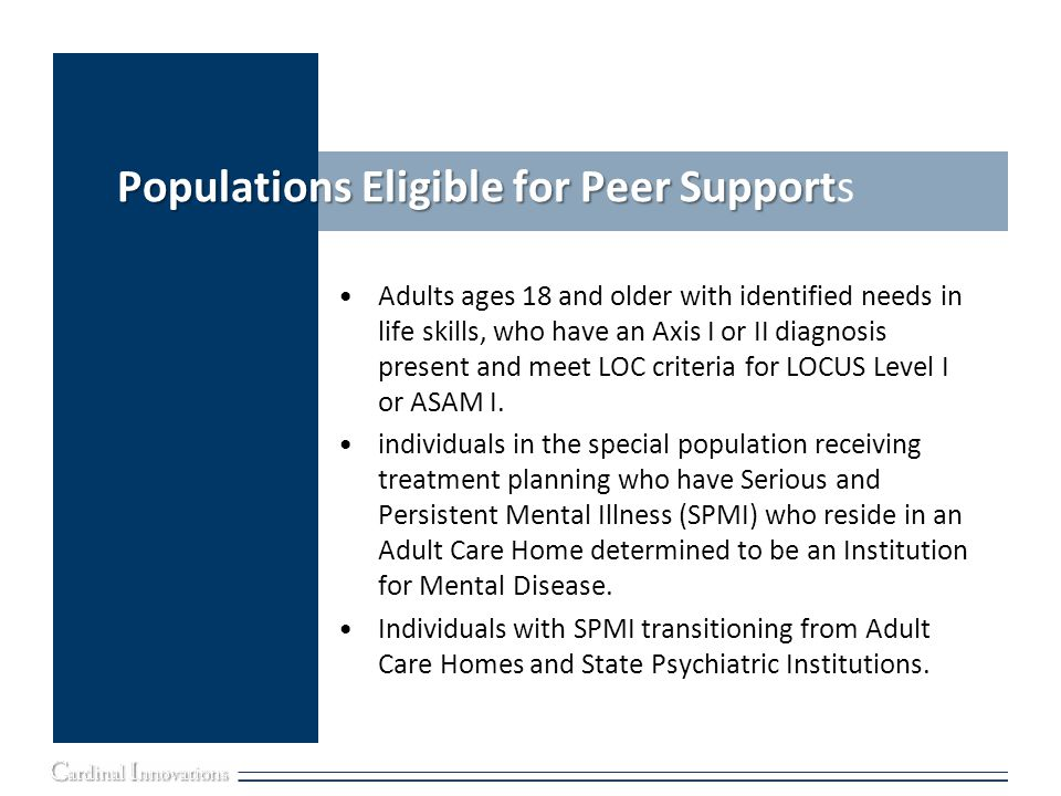 Populations Eligible for Peer Supports