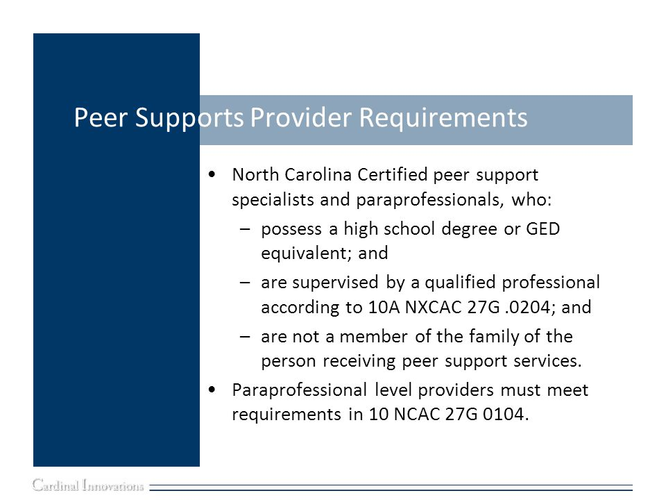 Peer Supports Provider Requirements