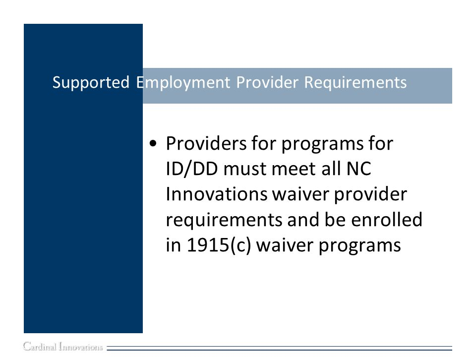 Supported Employment Provider Requirements